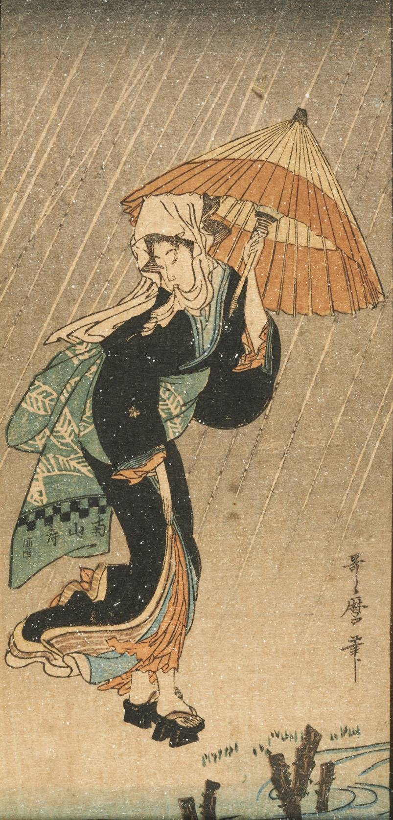 Beauty in the Rain, c. 1802. Kitagawa Utamaro.